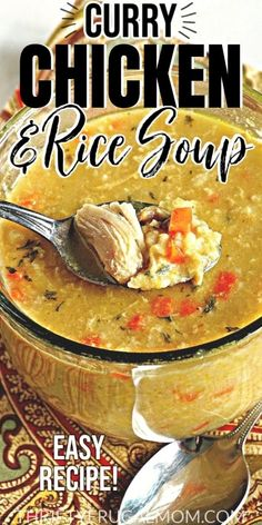 Curry Chicken and Rice Soup- this creamy soup is such a quick and easy meal! It's made with simple ingredients, is ready in 30 minutes and is so cozy and delicious. A family favorite! #thriftyfrugalmom #chickenandricesoup #homemadesoup Chowder Recipes, Healthy Soup Recipes, Chili Recipes, Easy Dinner Recipes, Easy Meals, Cheap Meals, Lunch Recipes, Meat Recipes, Healthy Meals