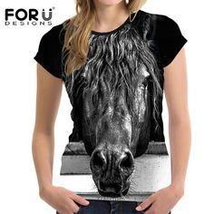 Crazy Horse Women T Shirt For Girls Summer Female Shirt Short Sleev – EzireOnline Animal Print T Shirts, Bodybuilding, Horse T Shirts, Crop Top Outfits, Casual Tops For Women, Slim, Shirts For Girls, Ladies Shirts, Crop Tee