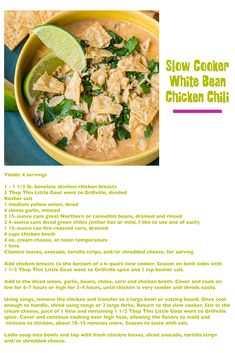 Goat Recipes, Chili Recipes, Crockpot Recipes, White Bean Chicken Chili Slow Cooker, Healthy Chili, Soup And Sandwich, White Beans, Goats, Snacks