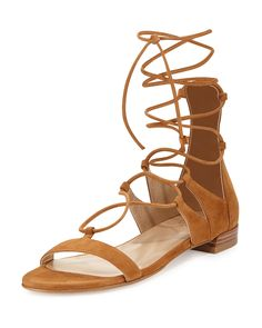 Tie-Up Suede Gladiator Sandal, Camel by Stuart Weitzman at Bergdorf Goodman. Lace Up Gladiator Sandals, Roman Sandals, Lace Up Sandals, Flat Sandals, Summer Sandals, Greek Sandals, Flat Shoes, Camel Sandals, Shoes Sandals
