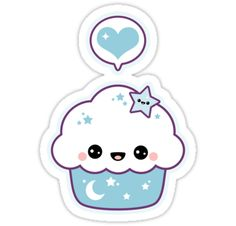 Super kawaii blue space cake cupcake stickers. Click to see multiple sizes.