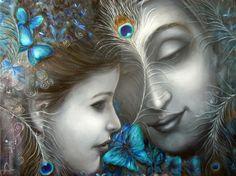 Pure Love by Rakhi Baid Krishna Painting, Krishna Art, Radhe Krishna, Lord Krishna, Shiva, Radha Krishna Pictures, Krishna Images, Lovers Embrace, Indian Artwork