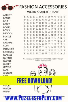 Fashion Accessories Word search It is a free download, printable puzzle to play Printable Puzzles, Crossword Puzzles, Free Printable Worksheets, Printable Labels, Printable Coloring, Free Printables, Free Word Search Puzzles, Word Search Games, Word Games