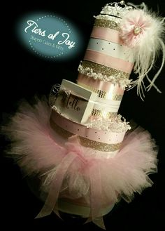 4 Tier Pink Princess DIAPER CAKE w/silver tiara | pink tutu skirt | pink feather hair bow | hello greeting block | baby shower | centerpiece by Tiersofjoy, $75.00 USD