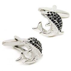Novelty black-silver fish modeling cufflinks
