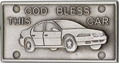 Antique Silver Finish Bless this Car Visor Clip