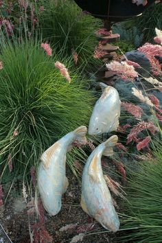 """Artificial fish look great """"swimming"""" among the grasses."""