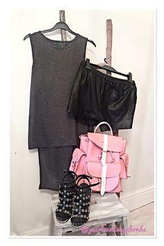 #saturdaysattire @primark #grey long back #top @hm #little #black #leather #shorts @topshop #studded #heels and #candy @grafea 💗💗 #pinkandblack #studs #fierce #styleblogger #inspo #oot #ootd #saturdayvibes #fashion #fashionista #fblogger #mystyle #pearlsandvagabonds