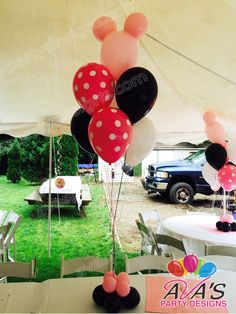 Minnie Mouse balloon bouquet centerpiece #partywithballoons
