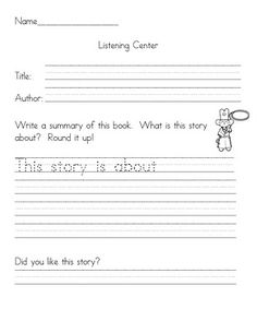 Summarizing for Listening Center