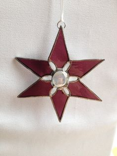 Stained Glass Ornament Purple Star with Glass Bead by MamaAgees, $7.50