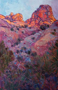 Joshua Tree National Park original oil painting landscapes for sale by modern impressionist Erin Hanson