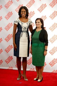 For a luncheon, Mrs. Obama chooses a Carolina Herrera shift that has a pretty and figure-flattering pattern. </p>