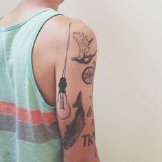 lightbulb, whale lots of small tattoos Grey Tattoo, Black Tattoos, Body Art Tattoos, New Tattoos, Small Tattoos, Skin Palette, Lightbulb Tattoo, Minimal Tattoo, Future Tattoos