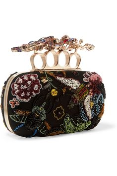 Alexander McQueen | Embellished tulle and satin box clutch | NET-A-PORTER.COM