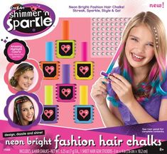 Cra-Z-Art Shimmer 'n Sparkle Neon Glow Hair Chalk ** You can find out more details at the link of the image. (This is an affiliate link) Tween Girl Gifts, Birthday Gifts For Girls, Crafts For Girls, Toys For Girls, Kids Toys, Jojo Hair Bows, Glow Hair, Kids Jewelry Box, Barbie Doll Set