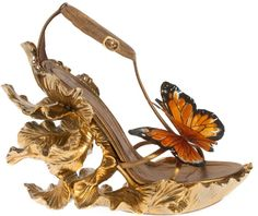 Alexander McQueen Gold Butterfly Shoes; Makes me want to float away