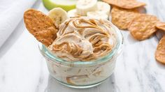 A sweet almond and cinnamon dip that tastes great with sweet potato chips or fruit!