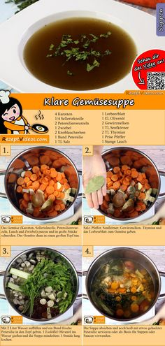 Klare Gemüsesuppe dient als Basis für viele Suppen und Saucen. Das Klare Gemüsesuppe Video findest du mit Hilfe des QR-Codes ganz leicht :) #KlareGemüsesuppe   #Suppe #Suppen #Suppenrezept #RezeptVideo #RezeptVideos #Rezept