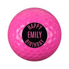 Personalised Pink Golf Ball - Happy Birthday Birthday Gifts, Happy Birthday, Gifts For Sports Fans, Golf Ball, Pink, Birthday Presents, Happy Brithday, Birthday Favors, Urari La Multi Ani