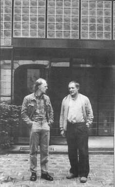 Richard Rogers and Richard Deacon at Pierre Chareau's Maison de Verre in Paris in 1985