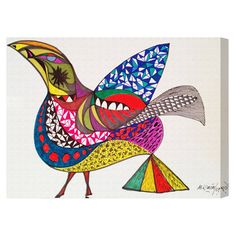 Lend a gallery-worthy touch to your entryway or parlor with this eye-catching canvas print, showcasing an abstract bird design.  Product:...