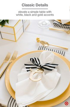 "Get in the ""glam"" spirit of things with our Sugar Paper for Target collection. It has everything you need to style your holiday table, especially when you want to give your celebration a personal touch. White plates get a boost with black-and-white striped ribbons, and a little sparkling initial for each guest completes the table's golden glow."