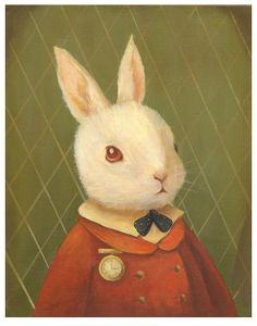 Poster, coelho, branco, alice
