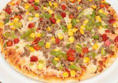 Pizza de carne e tofu Tofu, Paleo, Hawaiian Pizza, Vegetable Pizza, Vegetables, Fitness, 1, Foods, Drinks