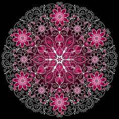 White-purple round floral vintage pattern on black photo