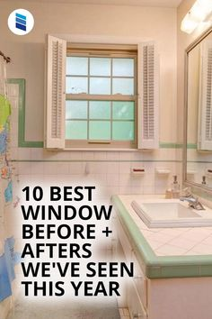 Looking for home makeover inspiration? These Before + Afters will motivate you to start your own renovation! Woven Wood Shades, Bamboo Shades, Bathroom Window Treatments, Bathroom Windows, New England Homes, Best Windows, H & M Home, Wood Blinds, Mid Century Style
