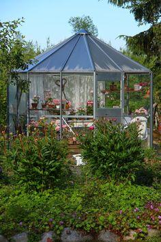 Ruusunmekko garden's greenhouse 'Lataamo' in June 2014