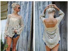 3317c0b950 Women Boho Loose Hollow Lace Crochet Bikini Tops Cover up Beach Dress Smock