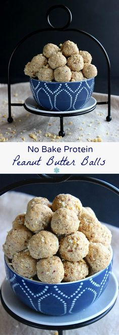 No Bake Protein Peanut Butter Balls are an easy and healthy treat that you can pop in your mouth any time of the day. Energy packed with only 5 ingredients! ~ http://veganinthefreezer.com