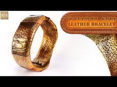 Faux leather cuff - Russian w/English sub where needed. 2 stage process.  Cooks base before adding texture #Polymer #Clay #Tutorials