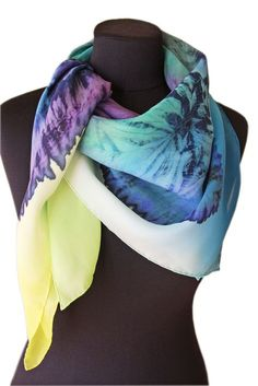 "Image of ""Shibori(5)"" hand dyed silk scarf by Asta Masiulyte"
