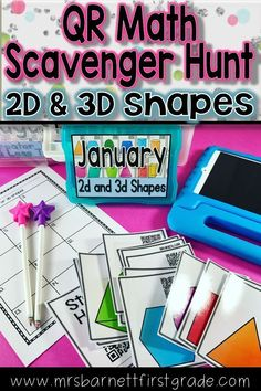 Going on a QR Scavenger Hunt is an awesome way to practice math standards! Practice 2D and 3D shapes in January -  or any month! Download this resource to send your students on a fun adventure with self checking QR Codes! Hunts are aligned with Common Cor