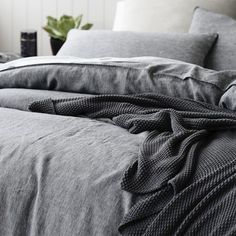 Home Republic Vintage Washed Linen Quilt Cover, washed linen, vintage washed