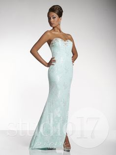 Studio 17 Style 12458: Strapless sweetheart neckline, lace sheath with AB rhinestone and sequin bust detail, nude lining, trumpet skirt with side front slit and train. #prom #prom2014 #pageant #dress #specialoccasion #formalwear #studio17 #houseofwu
