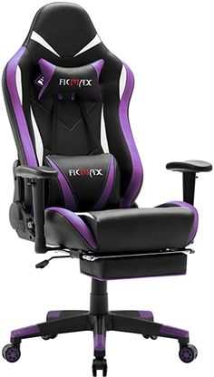Ficmax Massage Gaming Chair Ergonomic Gamer Chair with Footrest Reclining Game Chair with Armrest High Back Leather PC Gaming Chair Plus Size Racing Office Chair with Head and Lumbar Support Purple Storage-Organization Grocery Bags Bowls-Tureens Pots Gaming Desk Chair, Chaise Gaming, Gamer Chair, Gaming Room Setup, E Sports, Massage, Purple Games, Pretty In Pink, Purple Furniture