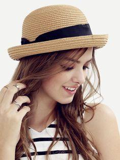 Chapeau de paille avec nœuds - café-French SheIn(Sheinside)