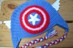 touca em croche super heroi capitão américa todos tamanhos