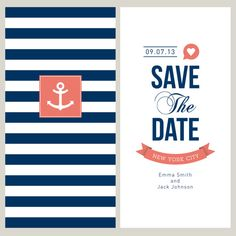 Sailor Themed Wedding  Save the Date  Invitation. by FunkeyJunk, $6.50