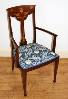 Art Nouveau elbow chair inlaid with stylised Calla lily in GP&J Baker fabric - Sold by The Sitting Place Calla Lily, Art Nouveau, Gp&j Baker, Dining Chairs, Antiques For Sale, Arts And Crafts Movement, Fabric, Furniture, Places
