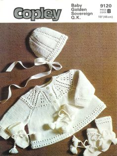 Baby QK Matinee Jacket Hat Bootees & mittens 18ins Copley 9120 - PDF of Vintage Knitting Patterns - Instant Download