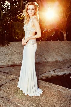 Crystal and Pearl Beaded Deep V-Plunge Prom Dress at David's Bridal #DavidsProm