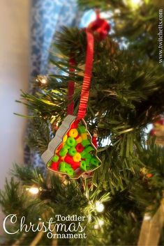 This simple ornament combines cookie cutter ornaments with bead ornaments to create a fun and unique Christmas ornament that kids can make. A fun gift for your child to craft and give at Christmas. Kids Make Christmas Ornaments, Toddler Christmas, Christmas Decorations To Make, Simple Christmas, Holiday Crafts, Christmas Recipes, Diy Christmas, Homemade Christmas, Diy Ornaments
