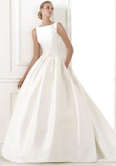Silk mermaid styled wedding dress with bateau neckline and dropped waist I Style: BARCAZA I by PRONOVIAS I http://knot.ly/6492BN6Ku