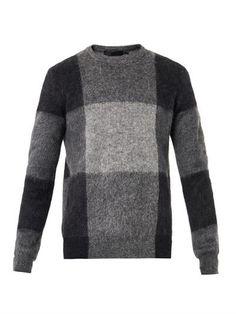 Mohair check intarsia sweater | Alexander McQueen | MATCHESFAS...