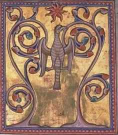 Phoenix from the Aberdeen Bestiary - century, medieval English manuscript Aberdeen, Phoenix Rising, Medieval Manuscript, Medieval Art, Illuminated Letters, Illuminated Manuscript, Phoenix Mythology, Illustrations Vintage, The Cross Of Christ